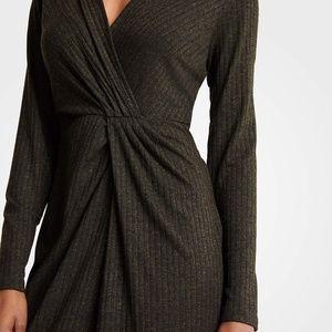 ANN TAYLOR NWOT Green Ribbed Wrap Dress Size XS